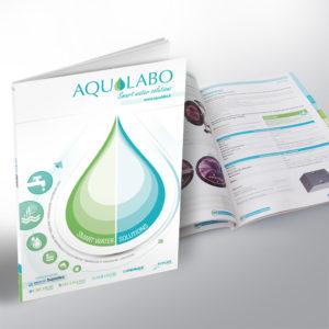 mise en page d'un catalogue produits et création de la charte graphique avec la goutte d'eau
