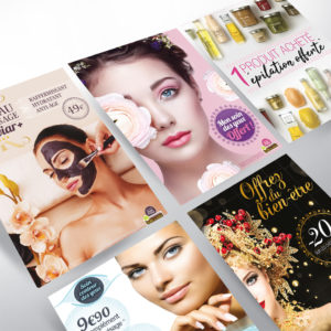 série affiches promotionnelles mensuelles pour les instituts de beauté bulle de soins