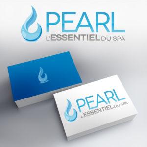 logotype de la marque de spa pearl avec pour icone une goutte d'eau moderne