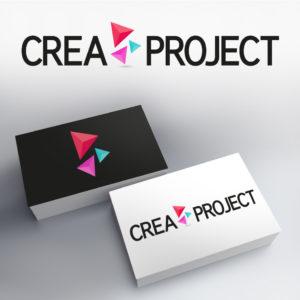 création graphique du logo crea project avec une série de triangles colorés