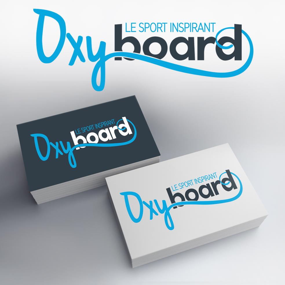 logotype de la marque oxyboard avec un travail de retouche sur la typogrpahie