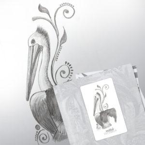 pélican noir et blanc dessiné au crayon