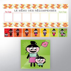 Mémo des récompenses et stickers des personnages avec un design coloré à destination des enfants