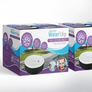 création de la charte graphique des packagings de la marque waterclip pour des spas gonflables