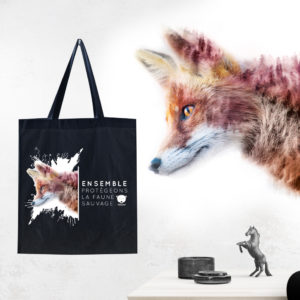 illustration d\'un renard sur un totebag noir pour l\'association aves france