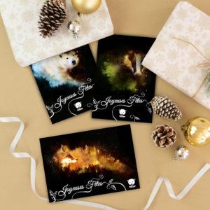 série de cartes de noel avec un blaireau un ours polaire et un renard sur fond noir
