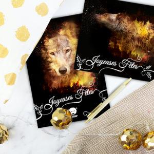 visuel carte de noel avec un loup et un ours brun