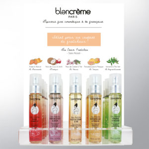 Packagings des Eaux Fraîches et sa PLV de Comptoir, Cosmétiques Blancrème